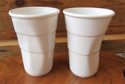 Squashed White Porcelain Cups