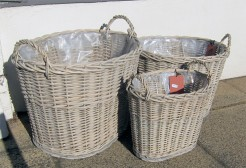 Large Oval Wicker Baskets with Handles
