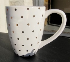 White and Gold Spots Mugs