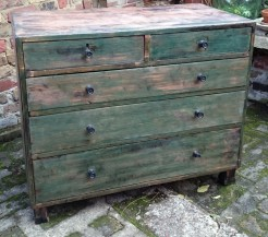 Industrial Style Antique Pine Chest of Drawers