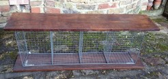 Oak Bench With Wire Storage Sections