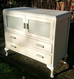 1930s Off White Painted Cupboard With Queen Anne Style Legs