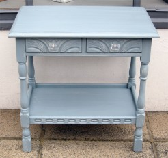 Blue Painted Small Table with Drawers