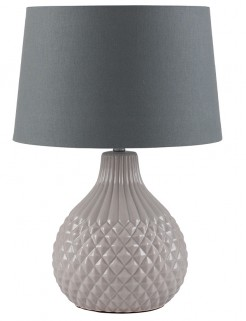 Grey Ceramic Pineapple Lamp and Dark Grey Shade