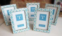 Turquoise and White Resin Photo Frames