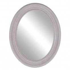 Taupe Beige Oval Painted Wooden Mirror