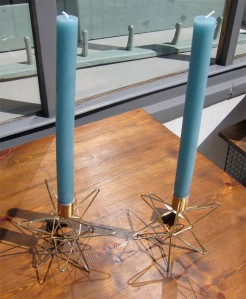 Gold Geometric Wire Dinner Candle Holders