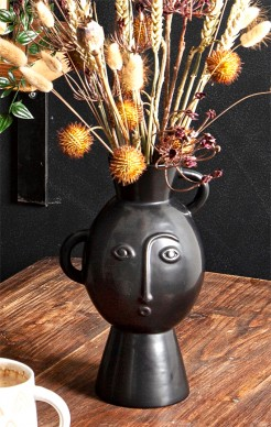 Black Handled Vase with Face