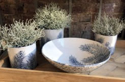 Fern Ceramic Planters and Bowl