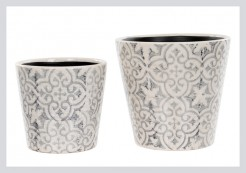 Grey And White Floral Pots