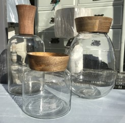 Glass Vases With Wooden Tops