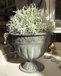 Green Round Metal Decorative Urn