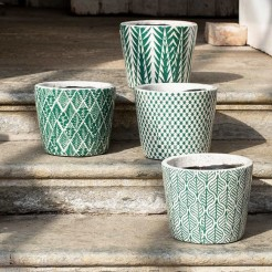 Large Green and White Dutch Style Plant Pots