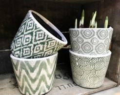 Blue and Green Mid Sized Terracotta Patterned Pots
