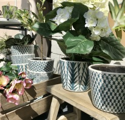 Teal Patterned Ceramic Pots