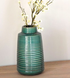 Green Ribbed Vases