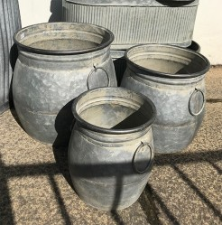 Round Galvanised Pots with Ring Handles