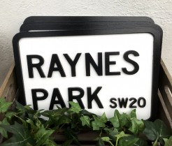 Rectangular Raynes Park Road Sign