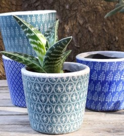 Smaller Blue and Green Plant Pots