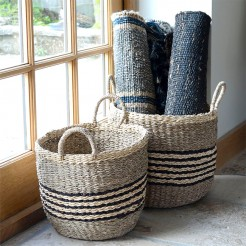 Striped Round Seagrass Baskets With Handles