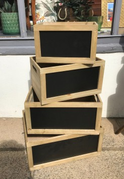 Crates With Chalkboard Section