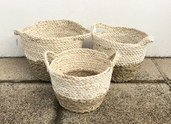 Cream and Natural Round Seagrass Baskets