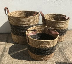 Faux Leather Handled Seagrass Baskets
