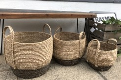 Round Seagrass Baskets With Handles