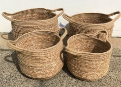 Jute and Straw Baskets With Handles