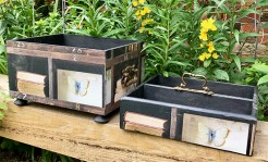 Upcycled Vintage Wooden Tray and Wine Box