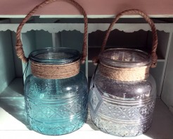 Aqua and Clear Glass Candle Holders With Rope Handles
