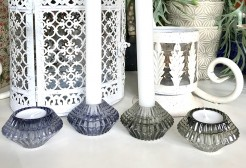 Ribbed Glass Double Use Candle Holders