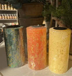 St Eval Christmas Marbled Pillar Candles