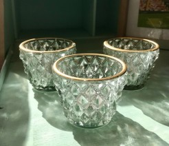 Gold Rimmed Vintage Style Pressed Glass Candle Holders