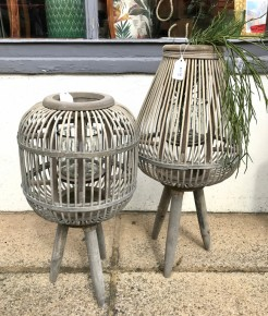 Tripod Leg Wood and Rattan Candle Holders