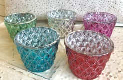 Multi Colour Glass Tealights