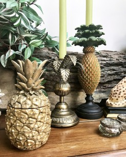 Pineapple and Palm Tall Candle Holders