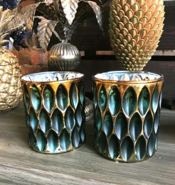 Peacock and Gold Dimple Tealight Holders