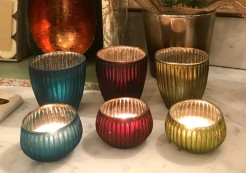 Ribbed Tealight Holders in Three Colours