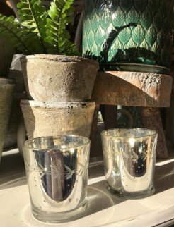 Mercury Glass Tealight Holders with Engraved Vine Design