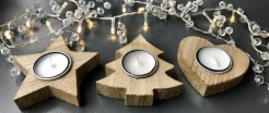 Wooden Tealight Holders With Glitter Edges