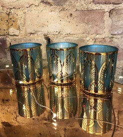Turquoise and Gold Art Deco Design Tealight Holders