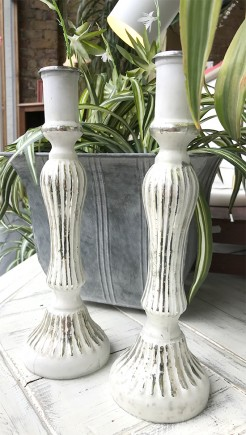 White and Antique Silver Glass Candlesticks