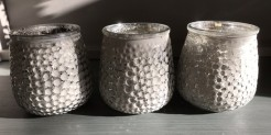 Taupe and Silver Dimple Tealight Holders