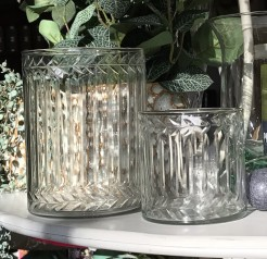 Etched Leaf Pattern Glass Hurricanes