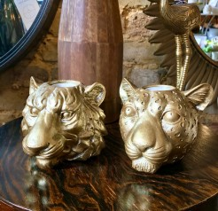 Gold Tiger and Gold Leopard Candle Holders