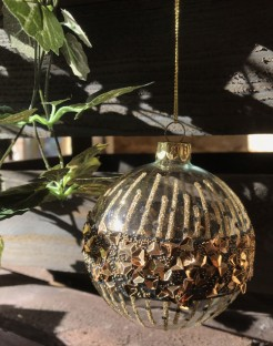 Clear Glass Bauble with Black and Gold Speckle Band