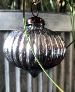Dark Pewter Antique Style Onion Shaped Bauble