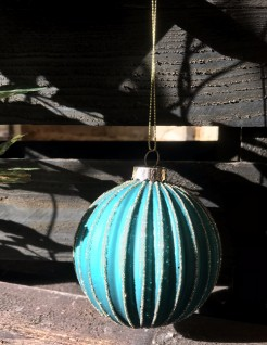 Turquoise Ribbed Bauble with Gold Glitter