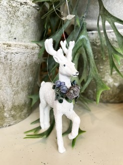 Sparkly White Deer With Berry Collar